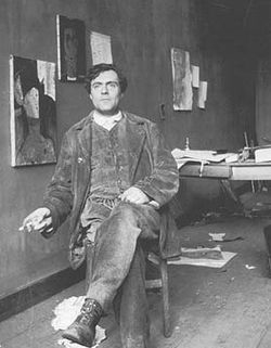 Photo of Modigliani in his studio